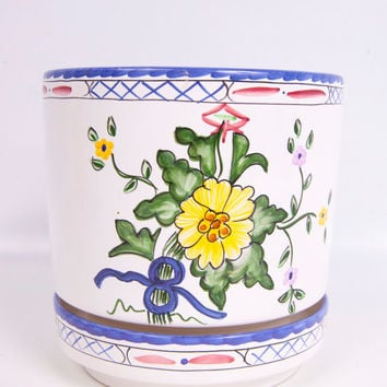 Vintage Tiffany & Co Planter Lisbon Hand Painted Portugal Bright Flower Pot Under Plate Ceramic Pottery Cache