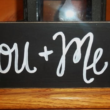 You Plus Me Equals Heart Sign, Couples Sign, Rustic Wedding Sign, Chalkboard Style Love Sign, Chalkboard Wedding Sign, Home Decor