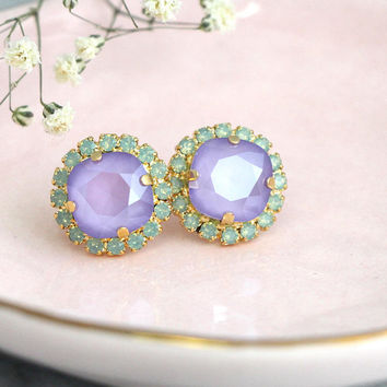 Purple Earrings, Purple Green Earrings, Lavender Bridal Earrings, Bridesmaids Earrings, Swarovski Purple Crystal Stud Bridal Earrings