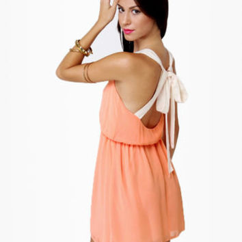 Cute Peach Dress - Backless Dress - Orange Dress - $42.00