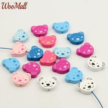 30Pcs Multicolor Mixed 19x25MM Bear Shape DIY Bracelet Necklace Jewelry Accessories Wooden Beads For Jewelry Making