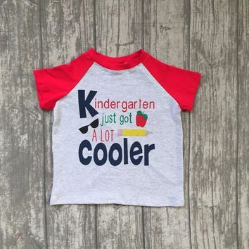 hot sell 2018 new arrival back to school boy short sleeves top kinder garten red with grey boutique outfit 5T-7T available