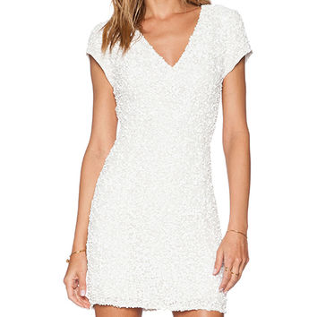 Parker Black Serena Sequin Dress in White