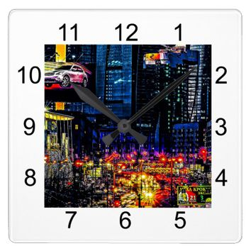 Urbanistic Sunset Square Wall Clock