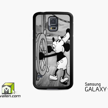 Mickey Mouse Steam Boat Willie Vintage Retro Disney Black White Custom Samsung Galaxy Case S3, S4, S5 by Avallen