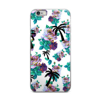 Flowers & Palm Trees Collage Cute Girly Girls Floral Beautiful Turquoise Purple Black & White iPhone 4 4s 5 5s 5C 6 6s 6 Plus 6s Plus 7 & 7 Plus Case