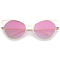 Oversize Women's Gradient Lens Wire Cat Eye Sunglasses A943