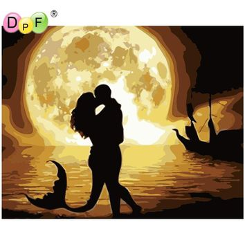 DPF Oil Painting By Numbers No Frame Paint On Canvas Wall Pictures For Living RoomrWall art Home Decor Mermaid Kissing gift DIY