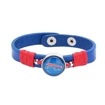 10pcs/lot! Adjustable Premium Leather Ginger Snaps Bracelet with a Buffalo Bills 18mm Snap  for Men,Women and Teens #1049