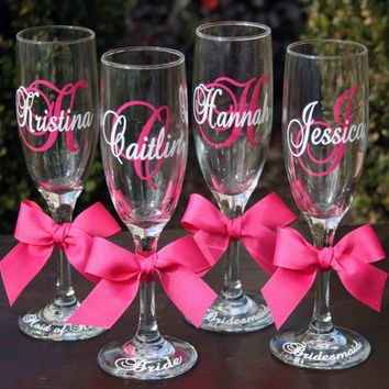 8 Monogrammed Bride and Bridesmaids Champagne Flutes, Personalized Wedding Glasses
