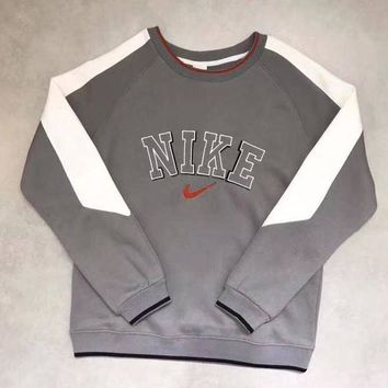 DCCKU62 NIKE Fashion Retro Embroidery Round Neck Top Sweater Pullover