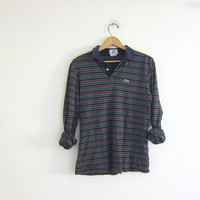 Vintage blue, green and purple striped Izod Lacoste henley shirt