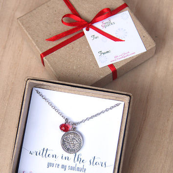 Best Friend, Soulmate, Cancer Zodiac Sign Necklace -   Cancer Necklace, Red Crystal, July Birthday Gift, Cancer Gift