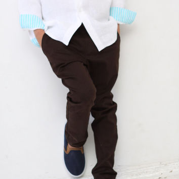 Boys pants Boys tailored pants Toddler boy trousers Boys brown pants Boys clothing Back to school