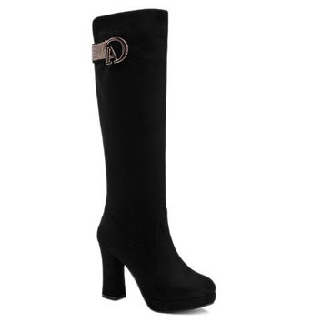 Graceful Women's Boots With Flock and Metal Design