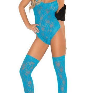 Plus Size Neon Blue Lace Teddy and Stockings