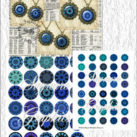 Kaleidoscope Deep Ocean Art - Digital Collage Sheets - 1.5, 1.0 inch Circles for Pendants, Jewelry Supplies, Arts & Crafts Projects