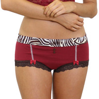 FOXERS Cranberry Boyshort with Zebra Band