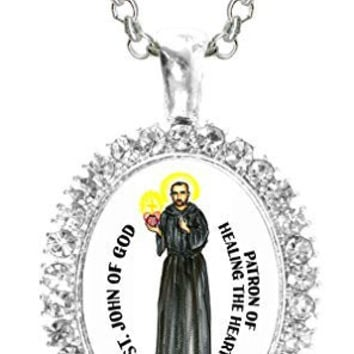 St John of God Patron of Healing the Heart Cz Crystal Silver Necklace Pendant