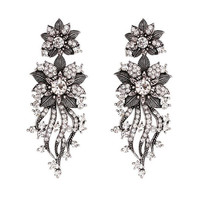 Fashion Long Type Earrings Rhinestone Shining Flower Earrings Sliver