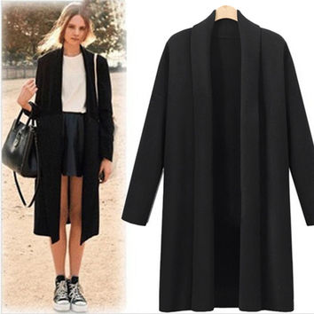 2016 Hot sale Womens Open Front Trench Coat Long Cloak Jackets Overcoat Waterfall Cardigan Oct 25