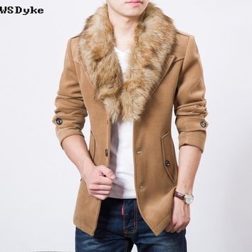 Winter Casual Slim Fit Wool Coat Men Turn Down Detachable Fur Collar Jacket