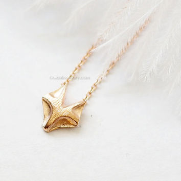 Fox necklace in rose gold, tiny fox rose gold necklace, dainty, everyday necklace, birthday, wedding, bridesmaid gifts, gift ideas