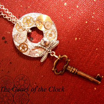 Handmade necklace Necklace STEAMPUNK gears gear key antique