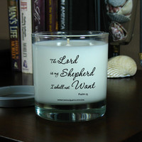 Soy Candle - Bible Verse, Candle Quotes, Inspirational Quotes – Psalm 23 The Lord Is My Shepherd – 8 oz Soy Scented Candle
