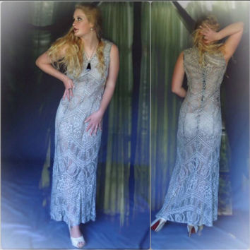 Vintage lace flapper maxi wedding gown / silver taupe sheer fishtail romantic dress / boho bride