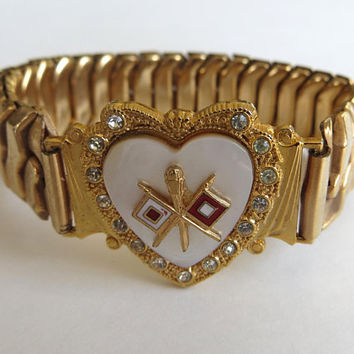 Vintage Sweetheart Bracelet US Army Signal Corps Insignia Expansion Bracelet Vintage Military Jewelry US Army Bracelet