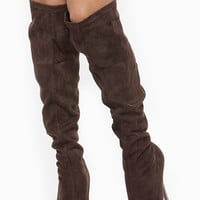 Brown Faux Suede Embellished Knee High Platform Boots