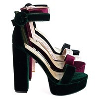 Tournament06M By Bamboo, 70's Retro Block Heel Platform Sandal w Ankle Strap