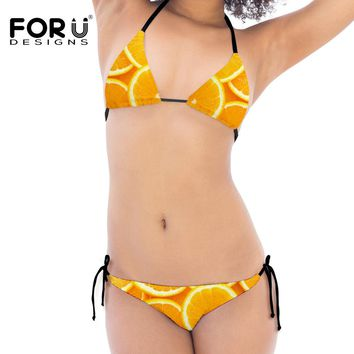 Summer Women Sexy Bikini Sets Funny Sweet Fruit Stylish Swimwear Beach Suit