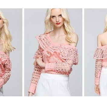 Pinky Hollow Out Lace Blouse