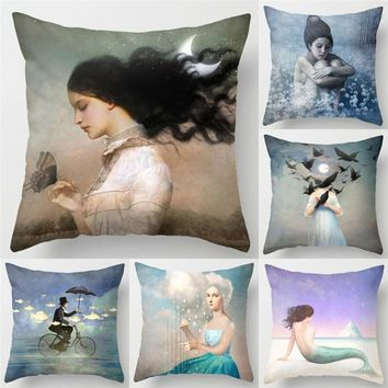 Fashion Cotton Linen Cushion Cover Butterfly Mermaid Pattern Car Sofa Chair Seat Square Pillowcase Throw Pillow Cover Home Decor
