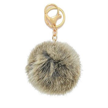 Brown Rabbit Fur Pom Pom Key Chain / Bag Charm Key chain, gift