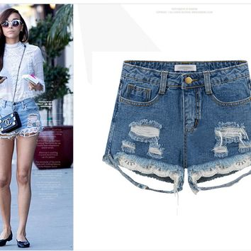 Women Summer Plus Size Lace Ripped Holes Denim Shorts [6328869313]
