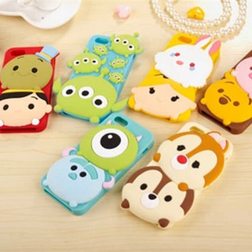 Lovely sulley stitch Chip&Dale Winnie the Pooh soft silicone cover for iPhone se 5 5s 6 6s 7 plus case cute 3d cartoon cases