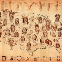 (13x19) Native American Tribes Map Art Print Poster