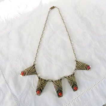 Vintage Art Deco Necklace, Egyptian Revival, Silver and Coral Necklace, Art Deco Jewelry, Egyptian Bib Necklace, Vintage Egyptian Jewelry