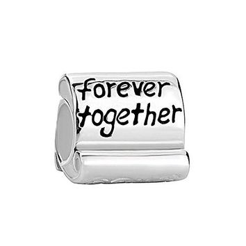CharmsStory 925 Sterling Silver Family Forever Together Charms Beads For Bracelets