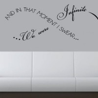 """In That Moment I Swear We Were Infinite 24""""-Home Decor-Wall Art-Sticker Decals-Wall Sticker-Wall Decals-Wall Decor-Wall Decoration-Wall Quotes:Amazon:Everything Else"""