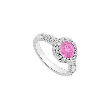 Pink Sapphire and Diamond Halo Engagement Ring : 14K White Gold - 1.25 CT TGW