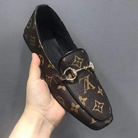 LV Louis Vuitton Gucci Fashion Women Casual Single Shoe Coffee