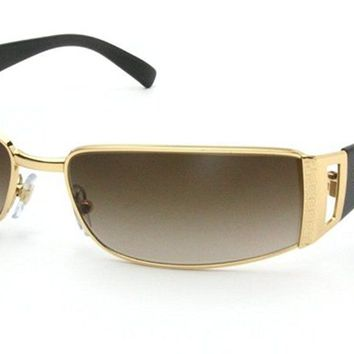 Versace Women's Gradient VE2021-100213-60 Gold Rectangle Sunglasses