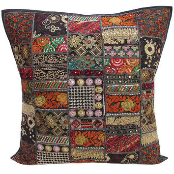 20x 20 Black Decorative Throw Pillow Vintage Ethnic Patchwork Cushion cover Indian Outdoor Sofa Pillow Ethnic Gypsy Couch Floor Throw Pillow