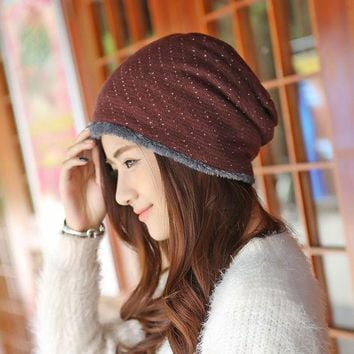Caps Winter Female Hats Warm Lining Skullies & Beanies Hip Hop Slouch Mens Knitted Cap Women Winter Hat Fleece Beanies Gorros