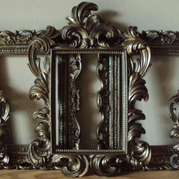 5 ANTIQUE BRONZE Picture Frames Cottage Cream Shabby Chic Open Frames Wall Gallery Bridal Party Frames Baroque Wedding Home Decor Reception