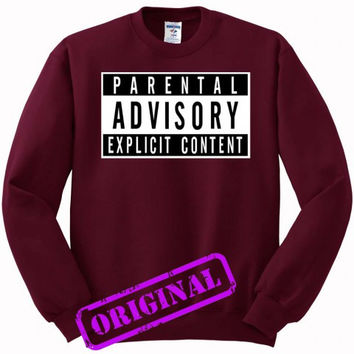 parental advisory explicit content for Sweater maroon, Sweatshirt maroon unisex adult
